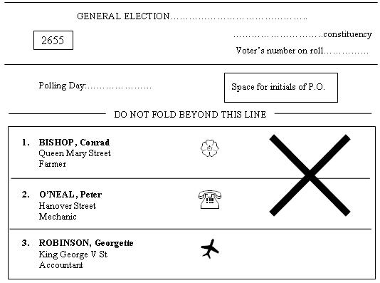Incorrect Ballot: Cross (x) extends over the space